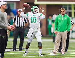 Oct 24, 2015; Huntington, WV, USA; North Texas Mean Green quarterback DaMarcus Smith warms up before the game against the Marshall Thundering Herd at Joan C. Edwards Stadium. Mandatory Credit: Ben Queen-USA TODAY Sports