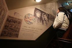 © Licensed to London News Pictures. 04/10/2015. London, UK. A visitor looks at the displays inside the Jack the Ripper Museum.  A planned protest was cancelled at the museum today. Photo credit: Peter Macdiarmid/LNP