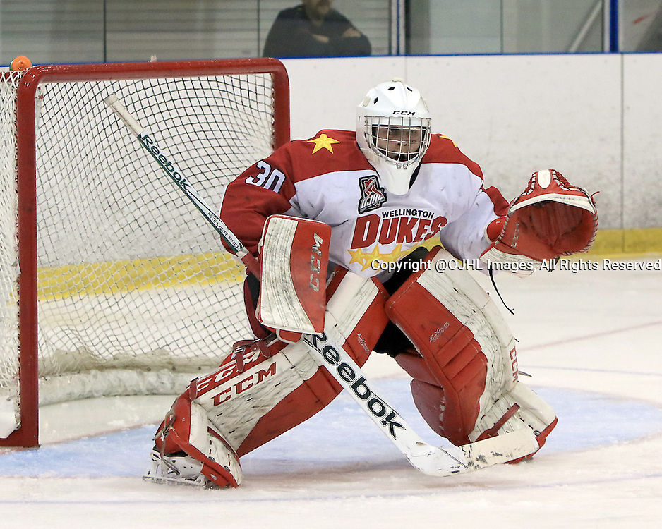 KINGSTON, ON - Sep 17, 2015 : Ontario Junior Hockey League game action between Wellington and Kingston, Olivier Lafreniere #30 of the Wellington Dukes during the first period<br /> (Photo by Ed McPherson / OJHL Images)