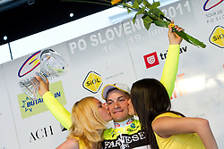Winner of the stage Guardini Andrea (ITA) of Farnese Vini at flower ceremony after the 4th Stage  between Ptuj and Novo mesto (181 km) at 18th Tour de Slovenie 2011, on June 19, 2011, in Novo mesto, Slovenia. (Photo by Vid Ponikvar / Sportida)