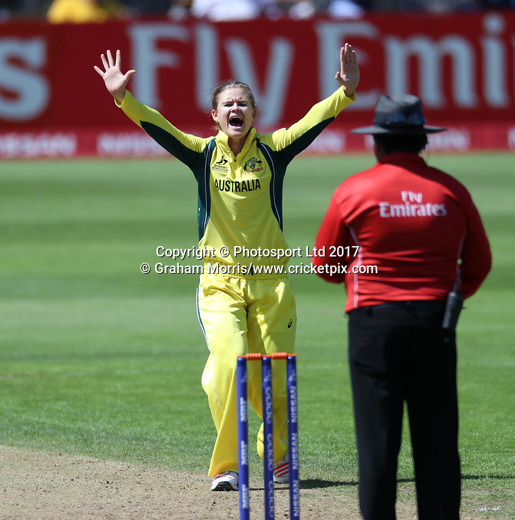 Jess Jonassen appeals as Amy Satterthwaite is lbw off her bowling during the Women's World Cup fifty over match between Australia and New Zealand at the County Ground, Bristol. Photo: Graham Morris / www.photosport.nz