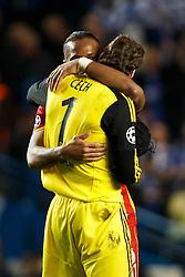 Chelsea Goalkeeper Petr Cech (CZE) is hugged by Galatasaray Forward Didier Drogba (CIV) - Photo mandatory by-line: Rogan Thomson/JMP - 18/03/2014 - SPORT - FOOTBALL - Stamford Bridge, London - Chelsea v Galatasaray - UEFA Champions League Round of 16 Second leg.