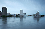 Massive flooding has covered the Midwest section of the United States. In Cedar Rapids, Iowa over 400 blocks were underwater. Other towns are now bracing for the water as it continues downstream.///Downtown Cedar Rapids, Iowa. Mays Island, where City Hall (right) and the courthouse sit, is totally covered with water.