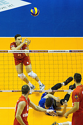 08.01.2016, Max Schmeling Halle, Berlin, GER, CEV Olympia Qualifikation, Frankreich vs Bulgarien, im Bild Rettungsaktin von Je?nia?Grebennikov (#2, Frankreich/France) // during 2016 CEV Volleyball European Olympic Qualification Match between France and Bulgaria at the  Max Schmeling Halle in Berlin, Germany on 2016/01/08. EXPA Pictures © 2016, PhotoCredit: EXPA/ Eibner-Pressefoto/ Wuechner<br /> <br /> *****ATTENTION - OUT of GER*****