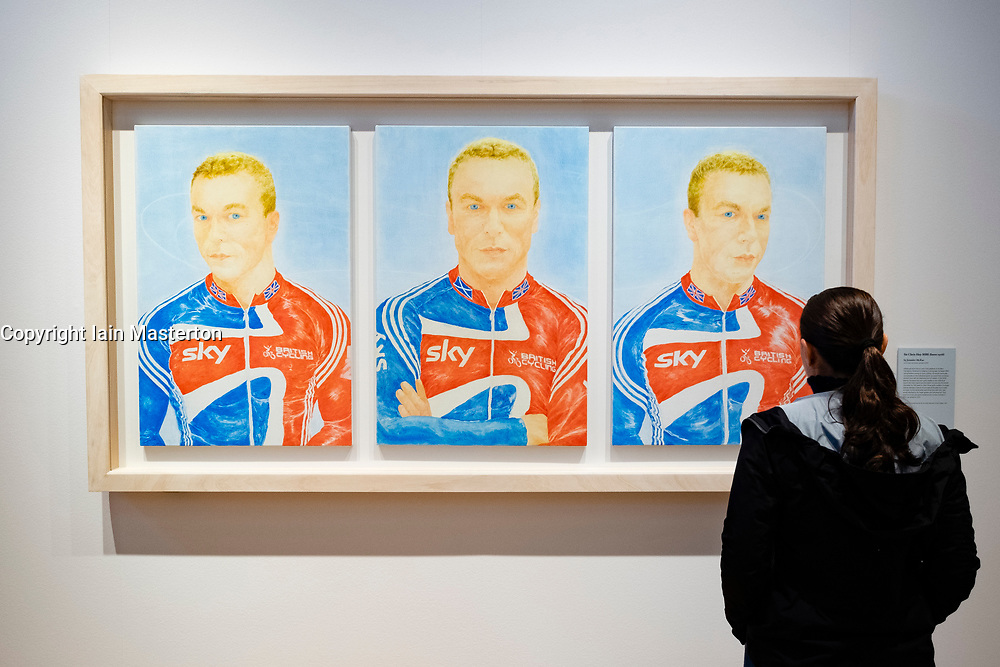 Painting of Sir Chris Hoy MBE by Jennifer McRae at Scottish National Portrait gallery in Edinburgh, Scotland, UK
