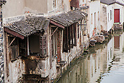 Traditional homes along Shantang canal in Suzhou, China.