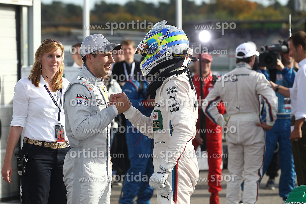 20.10.2012, Hockenheimring, GER, DTM, Hockenheimring, im Bild Augusto FARFUS (BMW Team RBM/ BMW M3 DTM) gratuliert Augusto FARFUS (BMW Team RBM/ BMW M3 DTM) zur Pole Position, Emotionen// during the DTM Event at the Hockenheimring, Hockenheim, Germany on 2012/10/20. EXPA Pictures © 2012, PhotoCredit: EXPA/ Eibner/ Alexander Neis..***** ATTENTION - OUT OF GER *****