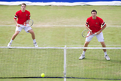 LIVERPOOL, ENGLAND - Saturday, June 22, 2013: Liverpool brothers Neil and Ken Skupski during Day Three of the Liverpool Hope University International Tennis Tournament at Calderstones Park. (Pic by David Rawcliffe/Propaganda)