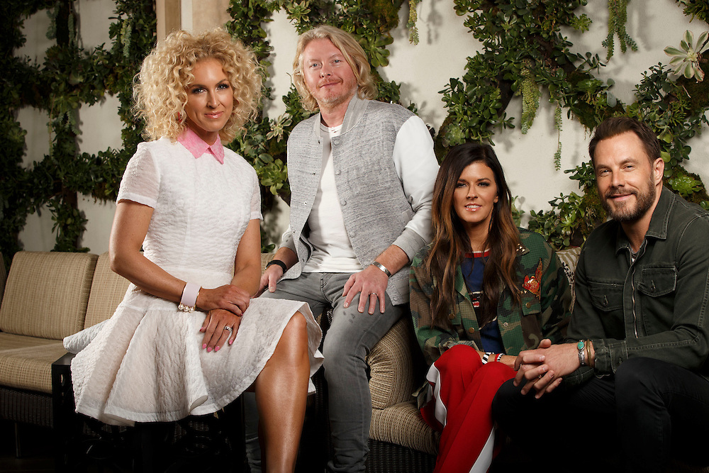 Members of the American country group Little Big Town, left to right, Kimberly Schlapman, Phillip Sweet, Karen Fairchild and Jimi Westbrook sit for a portrait at the Four Seasons Hotel on Monday, February 13, 2017 in Los Angeles, Calif. Their eighth studio album The Breaker will be released on February 24th. © 2017 Patrick T. Fallon