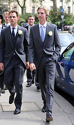 James Cook (right) arriving for his wedding to Poppy Delevingne at St.Paul's Church in Knightsbridge, London,  Friday, 16th May 2014. Picture by Stephen Lock / i-Images