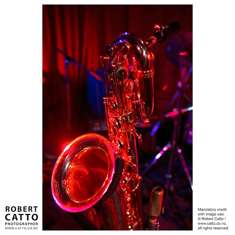 A saxophone waits for action at the Wellington International Jazz Festival, New Zealand.