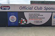 EFL Please refrain from using abusive language or aggressive behaviour in our family area sign during the EFL Sky Bet League 2 match between Grimsby Town FC and Oldham Athletic at Blundell Park, Grimsby, United Kingdom on 15 September 2018.