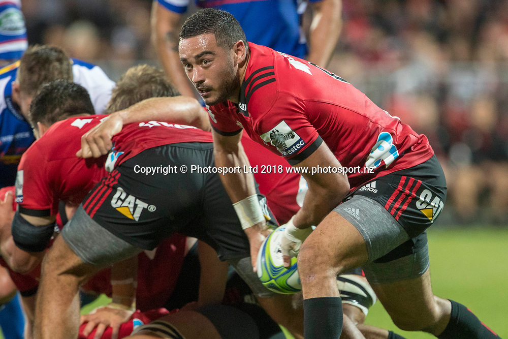 Bryn Hall clears the ball during the Crusaders v Stormers, Super Rugby week 2 match, AMI Stadium, Christchurch, New Zealand. 24th February 2018. Copyright photo: Craig Morrison / www.photosport.nz