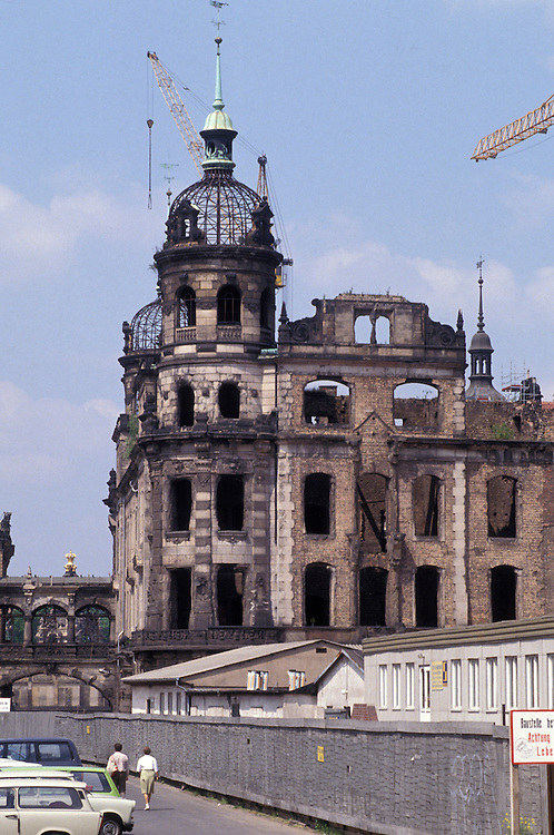 The remains of a building destroyed by allied bombing in the Second World War, in the German city of Dresden, May 1992.