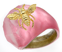 alexis bittar lucite pink ring with a gold bee