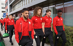 BRATISLAVA, SLOVAKIA - Thursday, October 10, 2019: Wales' (L-R) Neil Taylor, Ethan Ampadu, Joe Rodon and Rabbi Matondo during a pre-match team walk near the Hotel NH Bratislava Gate One ahead of the UEFA Euro 2020 Qualifying Group E match between Slovakia and Wales. (Pic by David Rawcliffe/Propaganda)