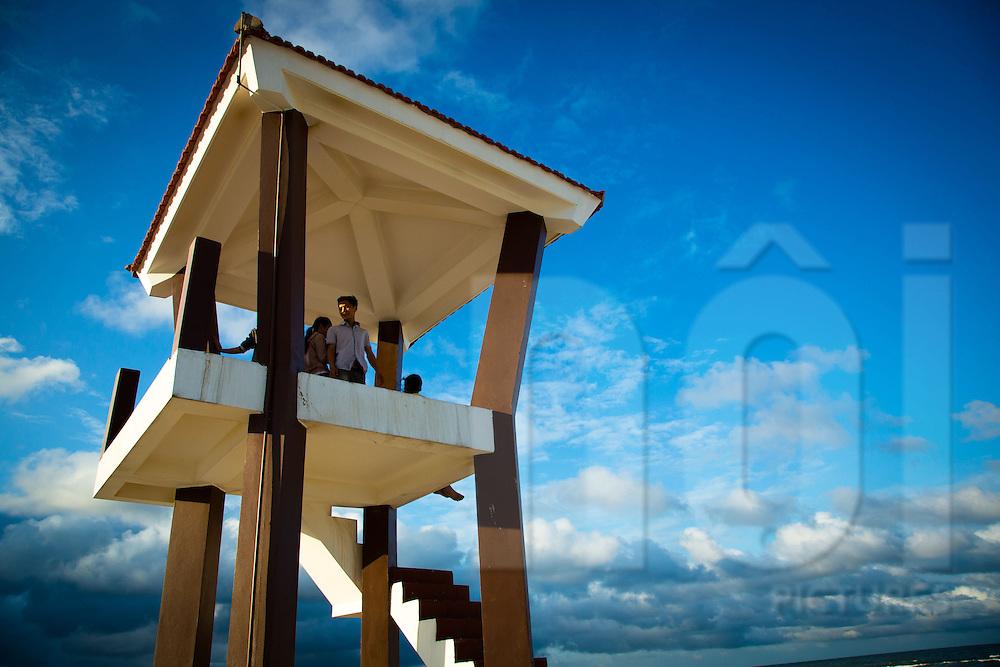 Watch tower on Cua Viet Beach, Quang Tri Province, Vietnam, Southeast Asia