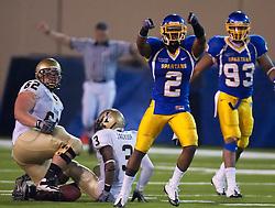 October 10, 2009; San Jose, CA, USA;  San Jose State Spartans safety Duke Ihenacho (2) celebrates after intercepting a pass against the Idaho Vandals during the fourth quarter at Spartan Stadium.  Idaho won 29-25.