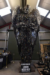 The 'Knife Angel' sculpture, which has been created with 100,000 knives collected by 41 police forces across the country via knife amnesties and confiscations, at the British Ironwork Centre in Oswestry, Shropshire.