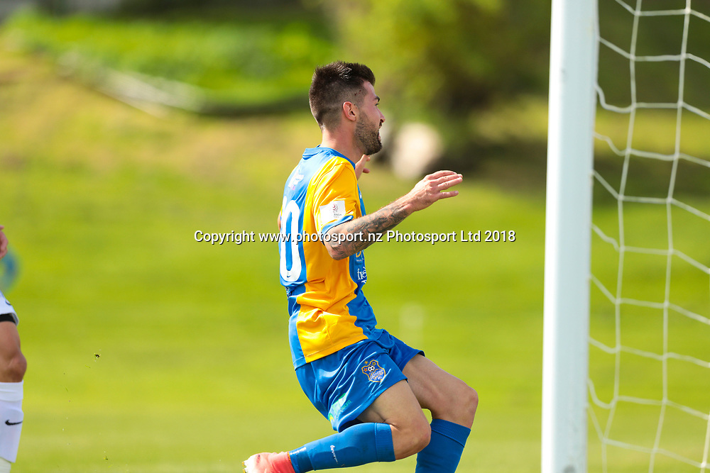 Southern's Alex Risdale finds the back of the net for the second time during the Southern United vs Hamilton, ISPS Handa Premiership football match held at Sunnyvale Park, Dunedin, New Zealand. 10 March 2018. Copyright Image: Derek Morrison / www.photosport.nz