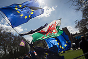 On the day that MPs in Parliament vote on a possible delay on Article 50 on EU Brexit negotiations by Prime Minister Theresa May, the EU flag and the Welsh Dragon fly over College Green during a protest outside the House of Commons, on 14th March 2019, in Westminster, London, England.