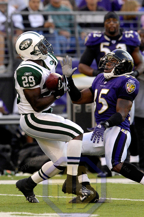 16 September 2007:  New York Jets running back Leon Washington (29) makes a fair catch of a punt as Baltimore Ravens cornerback Corey Ivy (35) closed in in the 3rd quarter.  The Ravens defeated the Jets 20-13 at M&T Bank Stadium in Baltimore, Md. .