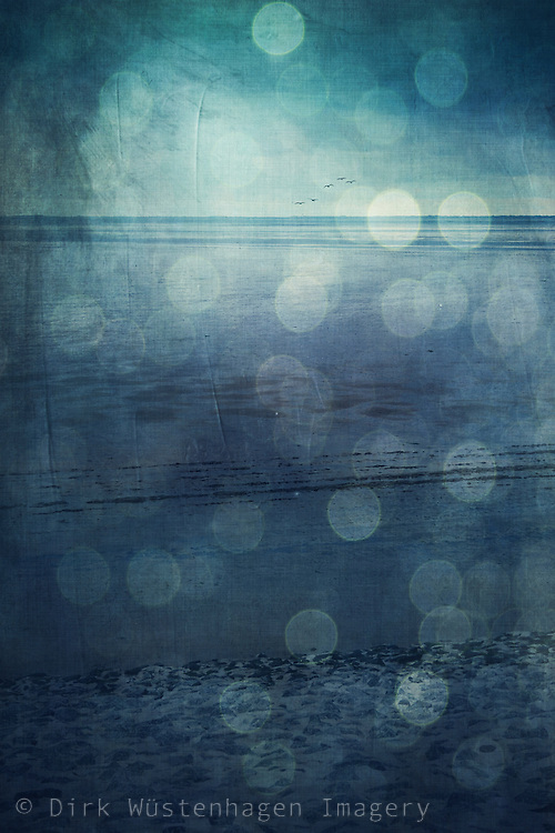 View of tidal flats / Waddensea in the rain - digitally manipulated and texturized photograph