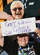 Get well message for Sir Peter Leitch aka the Mad Butcher.<br /> Vodafone Warriors v Newcastle Knights. NRL Rugby League. Mt Smart Stadium, Auckland, New Zealand. Sunday 5 May 2019. © Copyright photo: Andrew Cornaga / www.Photosport.nz