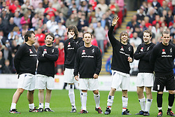 LIVERPOOL, ENGLAND - SUNDAY MARCH 27th 2005: Celebrities line-up before the Tsunami Soccer Aid match at Anfield. L-R: Shane Ritchie, Ian Broudie, Sergio Pizzorno, Perry Fenwick, xxxx, Paul Salt and Paul Harrison. (Pic by David Rawcliffe/Propaganda)