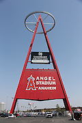 ANAHEIM, CA - MAY 4:  The Big A structure stands tall above fans tailgating prior to the Los Angeles Angels of Anaheim game against the Baltimore Orioles on Saturday, May 4, 2013 at Angel Stadium in Anaheim, California. The Orioles won the game 5-4 in ten innings. (Photo by Paul Spinelli/MLB Photos via Getty Images)