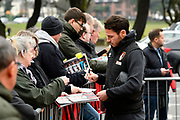 Adam Smith (15) of AFC Bournemouth signing autographs on arrival before the Premier League match between Bournemouth and Tottenham Hotspur at the Vitality Stadium, Bournemouth, England on 11 March 2018. Picture by Graham Hunt.