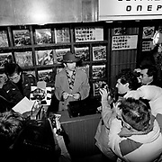 The Edge ( U2 ) in Moscow signing records for Greenpeace 1989
