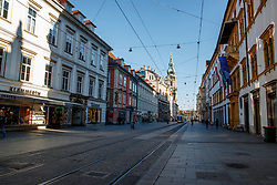 "THEMENBILD - Die leere Herrengasse in Graz in Folge des Coronavirus-Ausbruchs in Österreich, aufgenommen am 15.03.2020 in Graz, Österreich // Empty streets at the ""Herrengasse"" as a result of the coronavirus outbreak in Austria, on 2020/03/15 in Graz, Austria. EXPA Pictures © 2020, PhotoCredit: EXPA/ Erwin Scheriau"