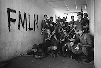 el salvador army-group photo - posing next to a graffitti of the fmln guerillas -0982 - during the Civil War