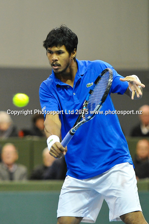 Somdev Devverman of India during the Davis Cup Tennis match, New Zealand v India, at The Z Energy Wilding Park Tennis Centre, Christchurch, New Zealand on the 17 July 2015. Copyright Photo: John Davidson / www.photosport.nz