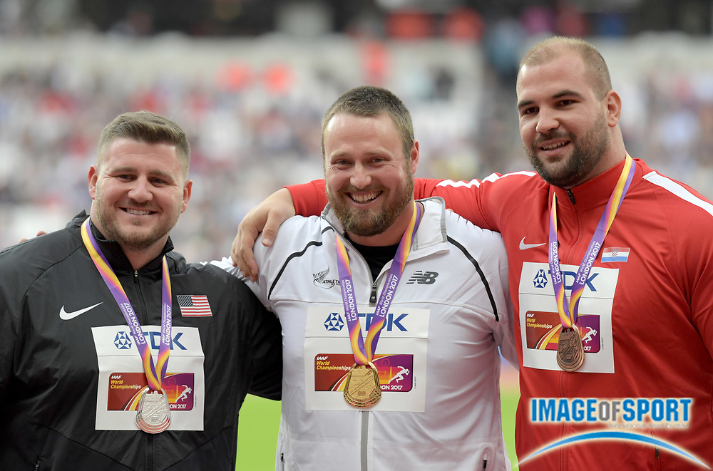 Aug 7, 2017; London, United Kingdom; Shot put medalists pose during the IAAF World Championships in Athletics at London Stadium at Queen Elizabeth Park.  From left: silver medalist Joe Kovacs (USA), Tomas Walsh (NZL) and Stipe Zunic (CRO).