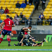 Super rugby union game (Round 14) played between Hurricanes v Reds, on 18 May 2018, at Westpac Stadium, Wellington, New  Zealand.    Hurricanes won 38-34.