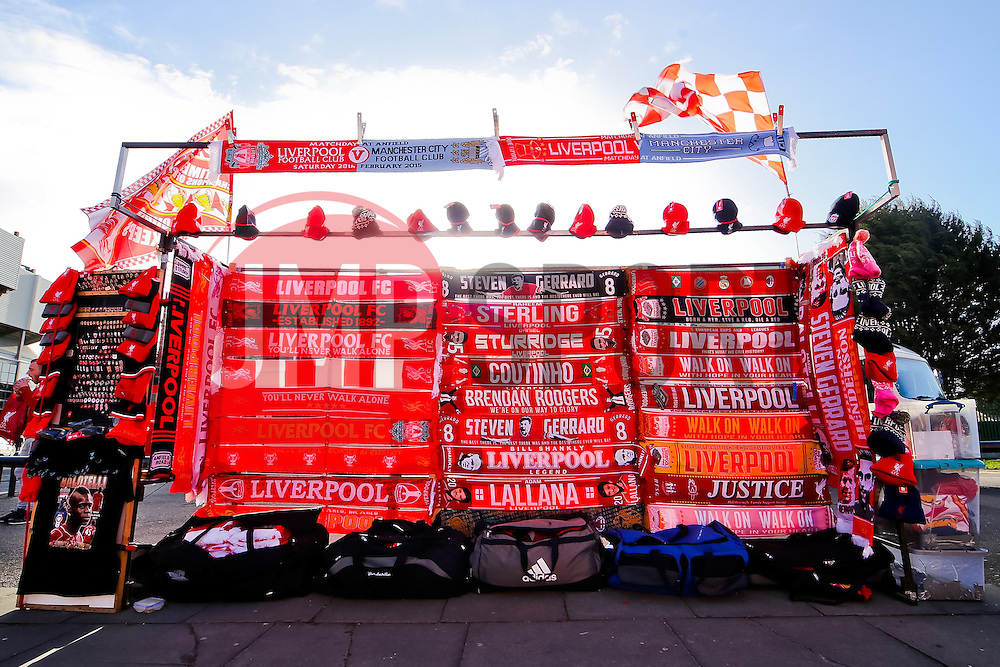 A general view of Liverpool FC merchandise on sale outside Anfield Stadium ahead of the Barclays Premier League fixture between Liverpool and Manchester City  - Photo mandatory by-line: Matt McNulty/JMP - Mobile: 07966 386802 - 01/03/2015 - SPORT - Football - Liverpool - Anfield Stadium - Liverpool v Manchester City - Barclays Premier League