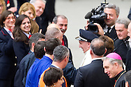 Vatican City dec 19th 2015, pope's audience to railway employers and workers. In the picture pope Francis wears a railway cap