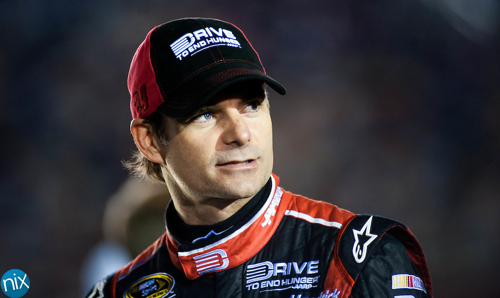 Jeff Gordon prior to qualifying for the Bank of America 500 during  Bojangles Pole Night at Charlotte Motor Speedway Thursday night. (Photo by James Nix)