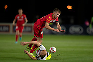 GOSFORD, AUSTRALIA - OCTOBER 02: Adelaide United midfielder Riley McGree (8) and Central Coast Mariners defender Ian Zygmunt Gordon (2) collide during the FFA Cup Semi-final football match between Central Coast Mariners and Adelaide United on October 02, 2019 at Central Coast Stadium in Gosford, Australia. (Photo by Speed Media/Icon Sportswire)