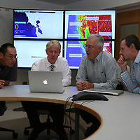 Seismologist Takaaki Tairar, Richard M. Allen, Director of the Berkeley Seismological Laboratory, Doug Neuhauser and Clay Miller talk about  the Napa area earthquake at the lab in Berkeley, California, on Monday, August 24, 2014.  On Sunday, a 6.1 magnitude earthquake caused significant damage and left three critically injured in California's northern Bay Area early Sunday, igniting fires, sending at least 87 people to a hospital, knocking out power to tens of thousands and sending residents running out of their homes in the darkness. Aftershocks are still being captured across the area by seismometers that are recording seismic data. (AP Photo/Alex Menendez)