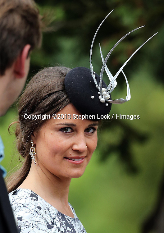 Pippa Middleton  leaving the Lady Melissa Percy and Thomas van Straubenzee wedding at St.Michaels Church, Alnwick, Northumberland after their wedding ,Saturday, 22nd June 2013<br /> Picture by:  Stephen Lock / i-Images