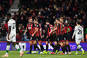 Steve Cook (3) of AFC Bournemouth (left) celebrates his goal  during the EFL Cup 4th round match between Bournemouth and Norwich City at the Vitality Stadium, Bournemouth, England on 30 October 2018.