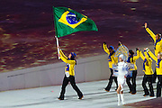 07.02.2014. Sochi, Krasnodar Krai, Russia.   Brazilian team enter the arena during the Opening Ceremony of the XXII Olympic Winter Games at the Fisht Olympic Stadium