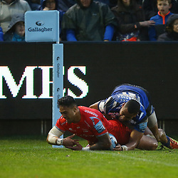 Denny Solomona of Sale Sharks tackled by Joe Cokanasiga of Bath Rugby to stop a try during the Gallagher Premiership match between Bath Rugby and Sale Sharks at the The Recreation Ground Bath England.2nd December 2018,(Photo by Steve Haag Sports)