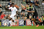 Milton Keynes Dons striker Kabongo Tshimanga (27) claims for a corner during the EFL Sky Bet League 1 match between Milton Keynes Dons and Bury at stadium:mk, Milton Keynes, England on 27 September 2016. Photo by Dennis Goodwin.
