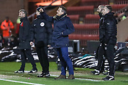 Forest Green Rovers manager, Mark Cooper gives instructions during the EFL Sky Bet League 2 match between Crewe Alexandra and Forest Green Rovers at Alexandra Stadium, Crewe, England on 20 March 2018. Picture by Shane Healey.