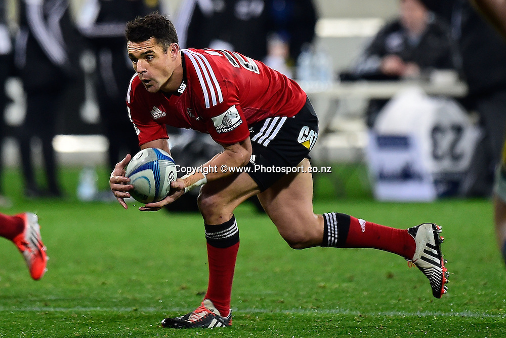Dan Carter of the Crusaders takes a pass during the Super Rugby - Hurricanes v  Crusaders rugby match at the Westpac Stadium in Wellington, New Zealand on the 28th of June 2014. Photo: Marty Melville/www.Photosport.co.nz