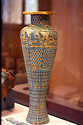 Replica of the cult vessel with inlays Fruhes 20th AD Wood, stucco, paint, gold